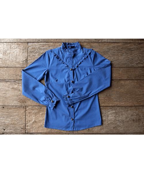 Camisa tecido jeans com Babado Frontal - SOMENTE P