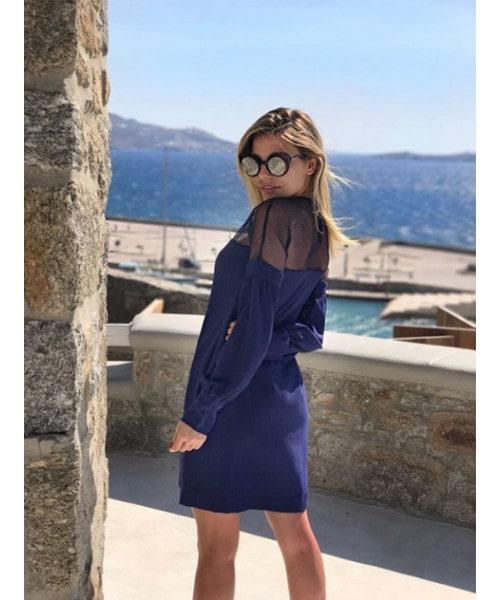 Vestido Azul Marinho com Tela de Ombro a Ombro