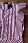 Blusa Listrada com Babados e Botões - SOMENTE P