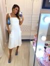 Vestido Linho Detalhes - Cor Preto e Off